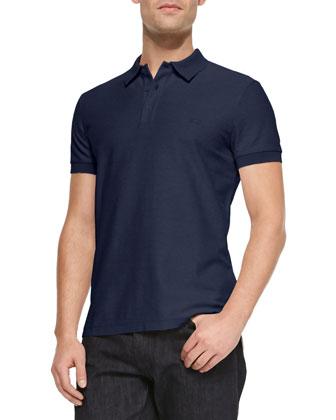 Knit Three-Button Polo Shirt, Navy