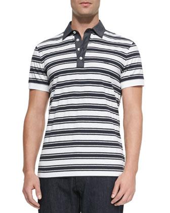 Striped Knit Polo Shirt, White/Navy/Gray