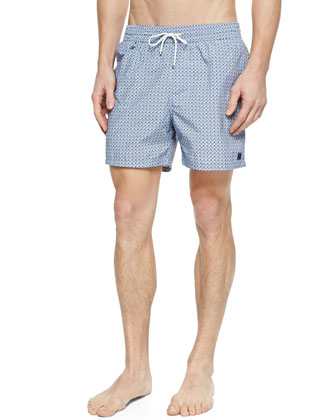 Gancini Logo Print Swim Trunks, Light Blue/Navy