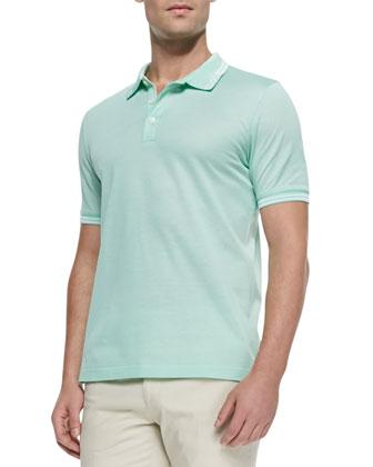 Woven Knit Polo Shirt, Mint