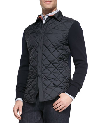 Quilted-Front Jacket with Knit Sleeves