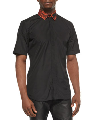 Short-Sleeve Woven Shirt, Black