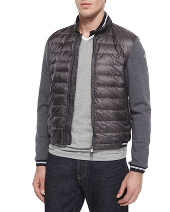 Mixed-Media Quilted-Front Jacket, Gray