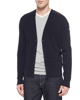 Quilted Shoulder Button-Down Cardigan, Navy