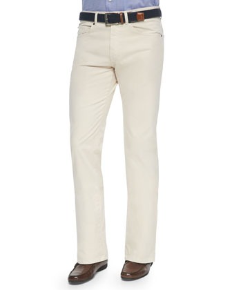 5-Pocket Stretch Twill Pants, Ivory