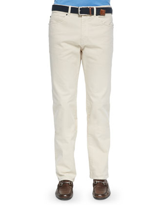 Stretch Five-Pocket Khaki Pants, Beige