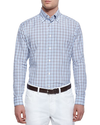 Check Long-Sleeve Sport Shirt, Blue/Gray