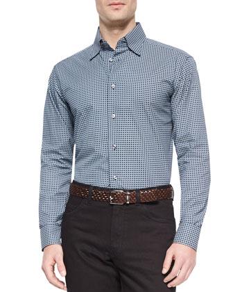 Geometric-Print Long-Sleeve Sport Shirt & Stelvio Five-Pocket Denim Jeans