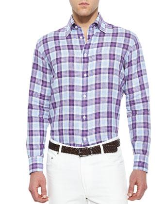 Woven Plaid Long-Sleeve Shirt, White/Multi