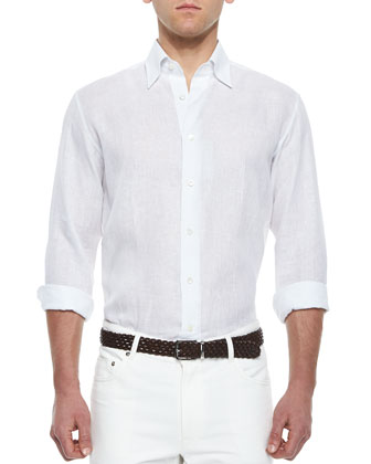 Long-Sleeve Linen Shirt, White