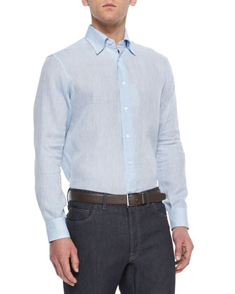 Long-Sleeve Linen Shirt, Light Blue