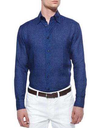 Solid Long-Sleeve Linen Shirt, Navy