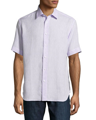 Short-Sleeve Linen Shirt, Light Purple