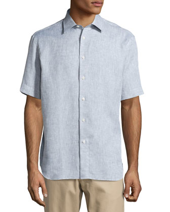 Short-Sleeve Linen Shirt, Dark Gray