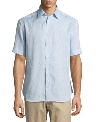 Short-Sleeve Linen Shirt, Light Blue