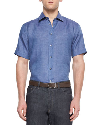 Short-Sleeve Linen Sport Shirt, Blue