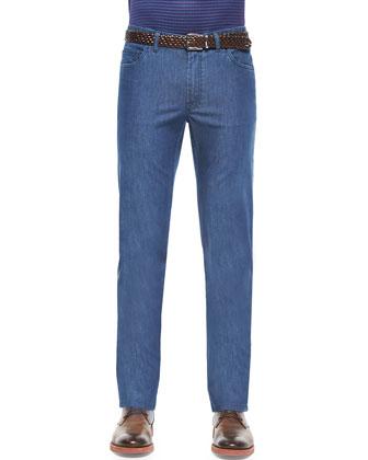 Summer-Weight Five-Pocket Denim Jeans, Blue
