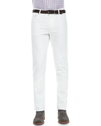 Poplin Five-Pocket Stretch Pants, White