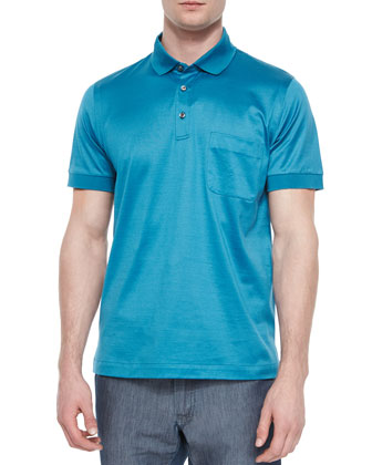 Polo Shirt with Silk Trim, Emerald