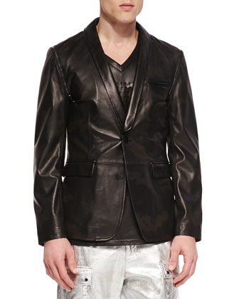 Leather Camo Blazer with Removable Sleeves & Lapel, Black