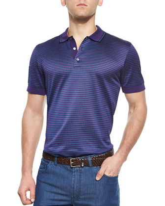 Woven Jacquard Polo Shirt, Purple