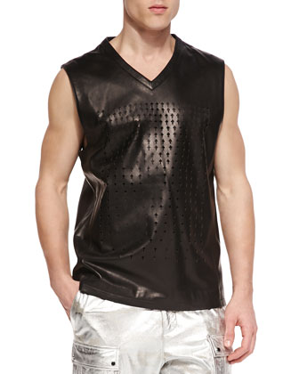 Perforated Cross Leather Sleeveless Tank, Black