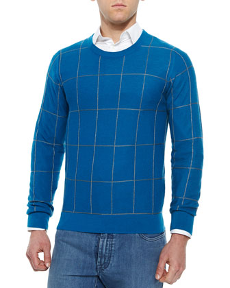 Windowpane Cashmere-Blend Crewneck Sweater, Emerald