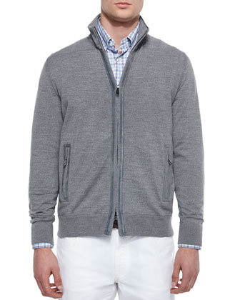 Full-Zip Wool Cardigan with Suede Trim, Dark Gray