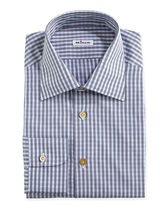 Check Woven Dress Shirt, Gray/Blue/White