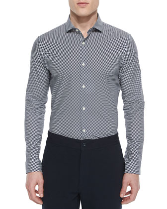 Mervin Dot Slim-Fit Shirt, Navy