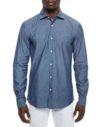 Slim-Fit Pindot Chambray Sport Shirt