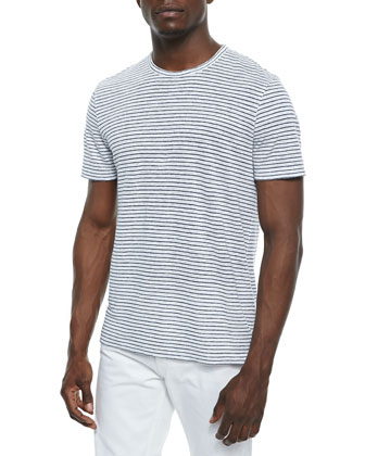 Striped Linen T-Shirt, White