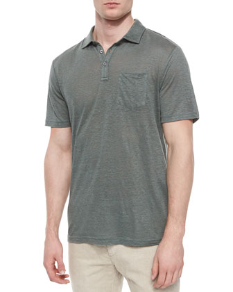 Linen Short-Sleeve Polo Shirt, Light Green