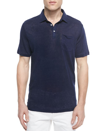 Linen Short-Sleeve Polo Shirt, Indigo