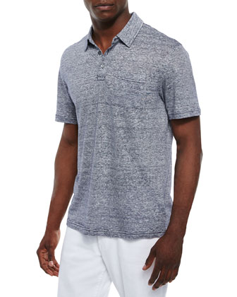 Fine-Stripe Short-Sleeve Polo, Indigo