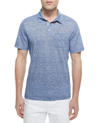 Fine-Stripe Short-Sleeve Polo, Tidal