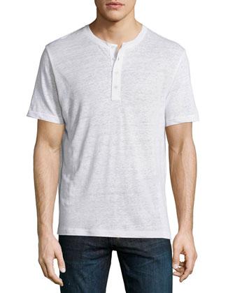 Short-Sleeve Linen Henley Tee, White
