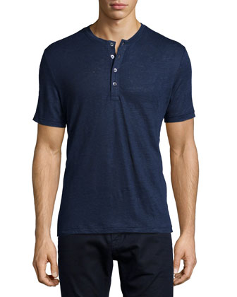 Linen Short-Sleeve Henley Polo Shirt, Indigo