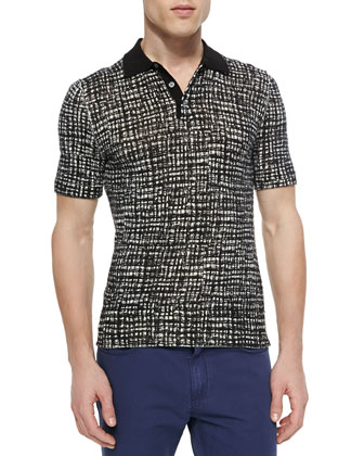 Plaid-Printed Short-Sleeve Polo, Muslin