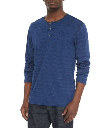 Long-Sleeve Space-Dyed Henley, Blue
