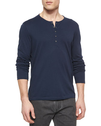 Cotton-Blend Bomber Jacket & Long-Sleeve Woven Henley Tee