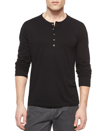 Cotton-Blend Bomber Jacket & Long-Sleeve Button-Front Henley Shirt
