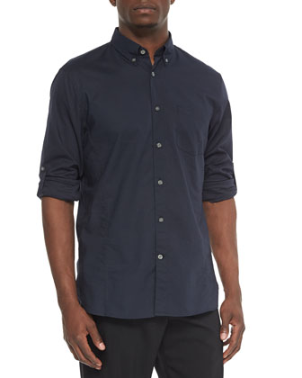 Solid Jacquard Roll-Tab Shirt, Blue