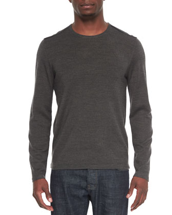 Leather-Trimmed Crewneck Sweater, Charcoal