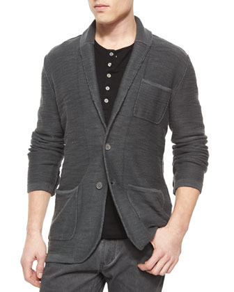 Two-Button Jersey Sweater Jacket, Dark Gray