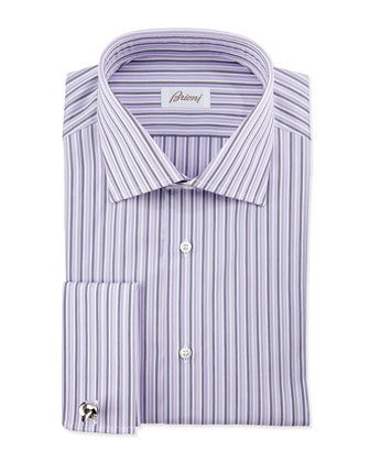 Bold-Stripe French-Cuff Dress Shirt, Purple