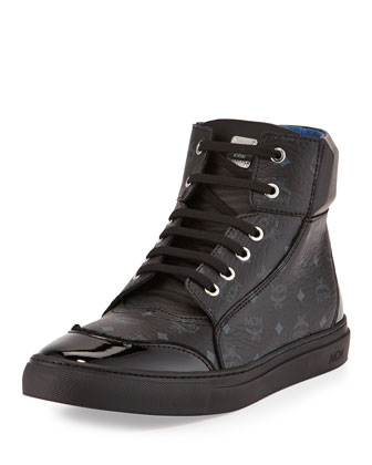 Leather High-Top Sneaker, Black
