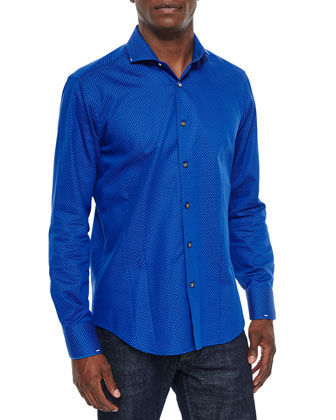 Micro-Dot Long-Sleeve Sport Shirt, Blue/White
