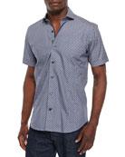 Dot-Print Short-Sleeve Woven Sport Shirt, navy
