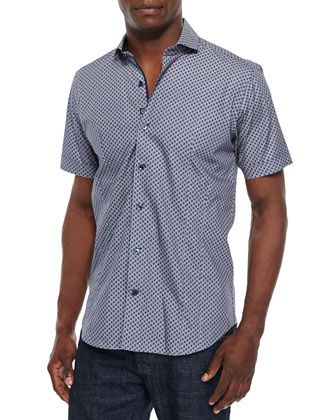 Solid Two-Button Sport Coat & Dot-Print Short-Sleeve Woven Sport Shirt